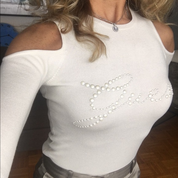 Guess women's Ivory off the shoulder sweater